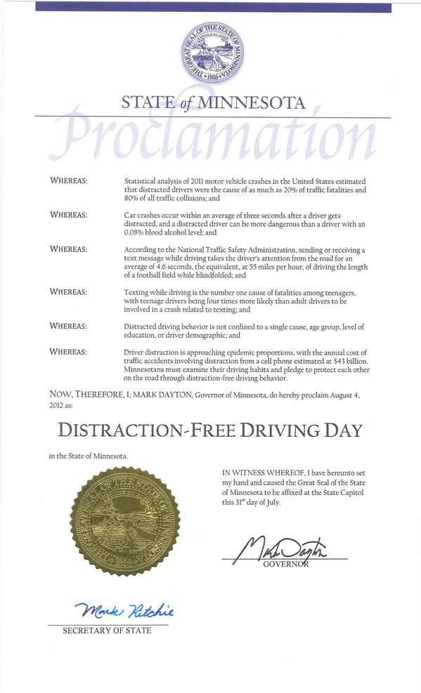 2012 MN Distraction Free Driving Day Proclamation