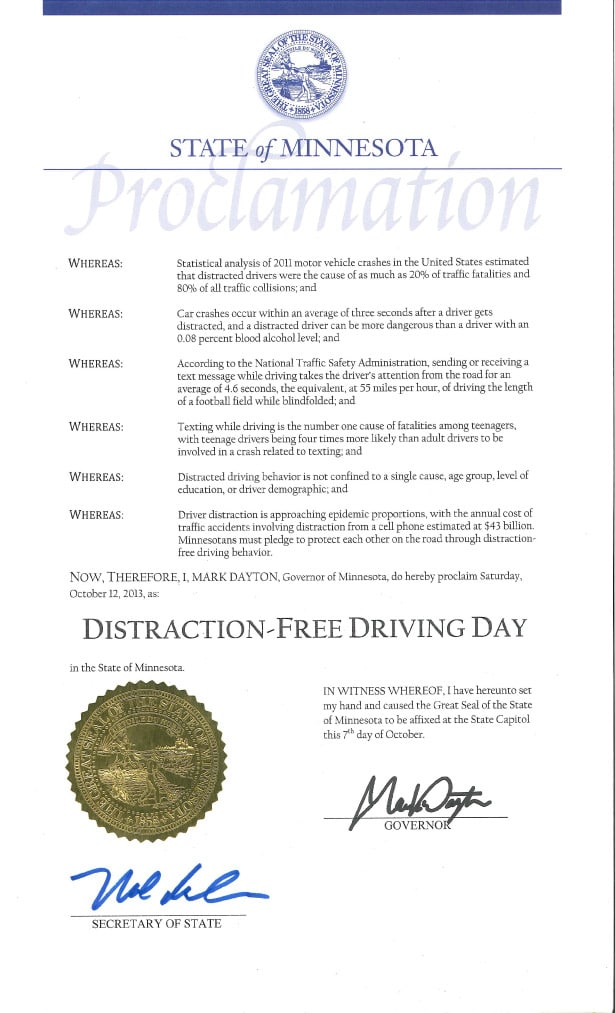 2013 Distraction Free Driving Day proclamation