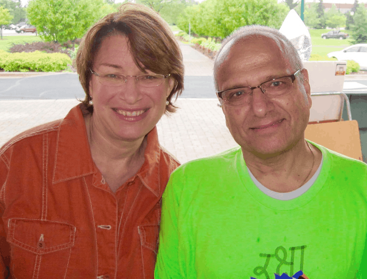U.S. Senator Amy Klobuchar and author/Shreya R. Dixit Memorial Foundation founder Vijay Dixit.